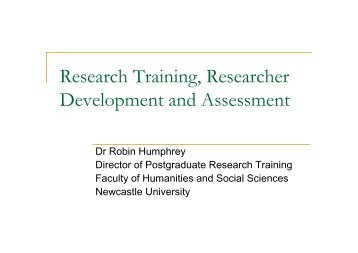 Research Training, Researcher Development and Assessment, Dr ...