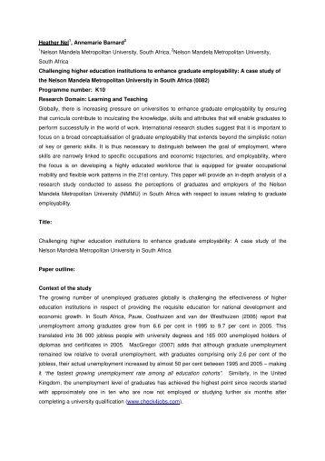 A case study of the Nelson Mandela Metropolitan - Society for ...