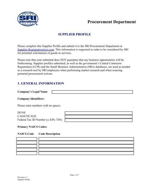 Supplier Profile Form - SRI International