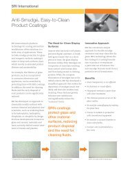 Anti-Smudge, Easy-to-Clean Product Coatings - SRI International