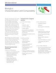 Biologics: Characterization and Comparability - SRI International