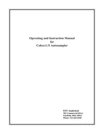 COBRA Autosampler Manual - SRI Instruments