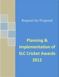Request For Proposal – Planning ... - Sri Lanka Cricket