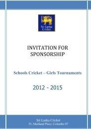 INVITATION FOR SPONSORSHIP - Sri Lanka Cricket