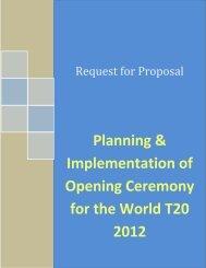 Planning & Implementation of Opening ... - Sri Lanka Cricket
