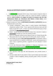 Informative note by Embassy (7 - Embassy of Sri Lanka in Rome