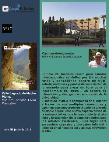 e-AN N° 17 nota N° 9 Caminos de encuentro por el Arq. Carlos Sánchez Saravia