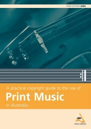 Practical Guide to the use of Print Music - APRA