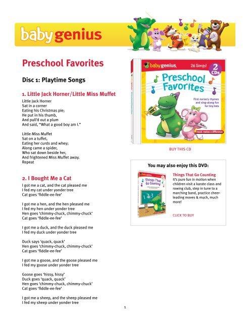Download Preschool Favorites Lyrics Pdf Baby Genius