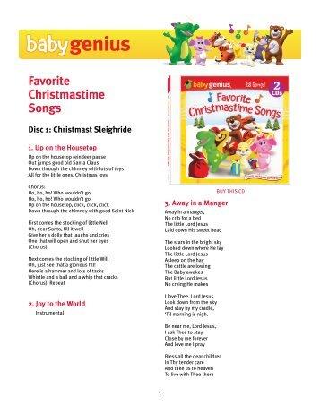 Download Favorite Christmastime Songs lyrics PDF - Baby Genius