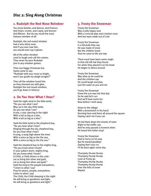photo about Frosty the Snowman Lyrics Printable identified as Disc 2: Sing Alongside Christ