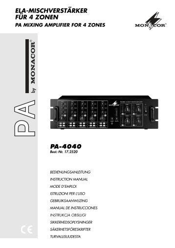 pa-4040 ela-mischverstärker für 4 zonen - SOUND-SYSTEMS
