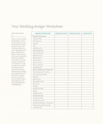 Wedding Budget Worksheet  Kjsweddingshop