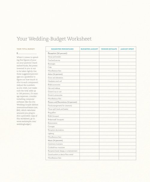 your wedding budget worksheet real simple