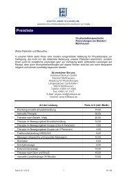 Unsere Preise am Standort Mühlhausen - Hufeland Klinikum
