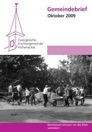 Gemeindebrief Oktober 2009 - Evangelische Kirchengemeinde ...
