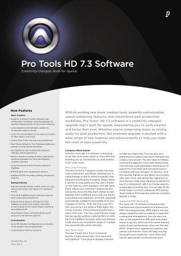Pro Tools HD 7.3 Software