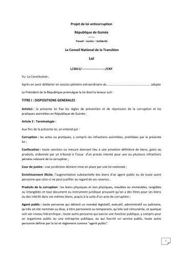 Projet de loi anticorruption République de Guinée Le Conseil ...
