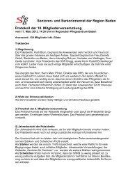 Protokoll der 10. Mitgliederversammlung - Senioren- und ...