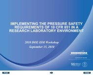 implementing the pressure safety requirements of 10 cfr 851