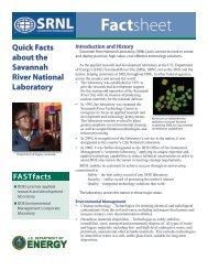 SRNL Quick Facts - Savannah River Site