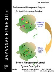 WSRC Project Mgmt. Controls Sys. Description - Savannah River Site