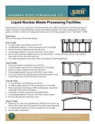 Liquid Nuclear Waste Processing Facilities - Savannah River Site