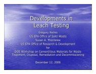 Developments in Leach Testing