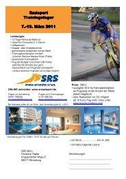 SRS Radsport Trainingslager