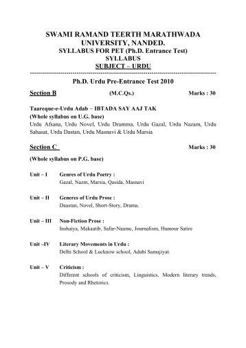 phd course work syllabus in srtmun