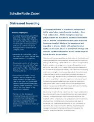 Distressed Investing - Schulte Roth & Zabel LLP