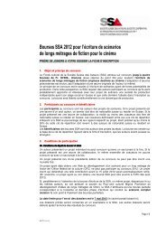 Bourses SSA 2012 pour l'écriture de scénarios de longs métrages ...