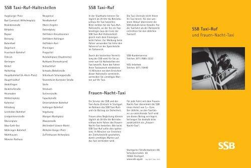 SSB Taxi-Ruf und Frauen-Nacht-Taxi SSB Taxi-Ruf Frauen-Nacht ...