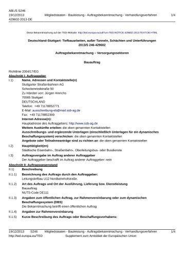 Deutschland-Stuttgart: Tiefbauarbeiten, außer Tunneln ... - SSB