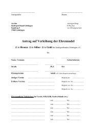 Antrag auf Verleihung der Ehrennadel - Stadtsportbund Göttingen eV
