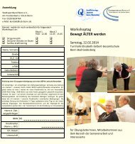 Workshoptag Bewegt ÄLTER werden - Stadtsportbund Bonn eV