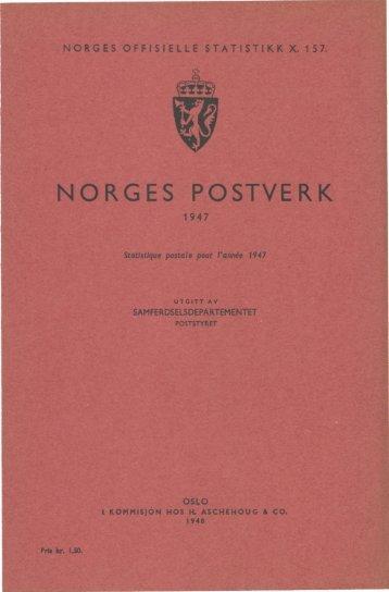 Norges Postverk 1947 - SSB