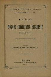 Statistik over Norges kommunale Finantser i Aaret 1898 - SSB