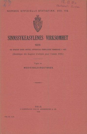 Sinnssykeasylenes virksomhet 1928 og opgave over antall offentlig ...