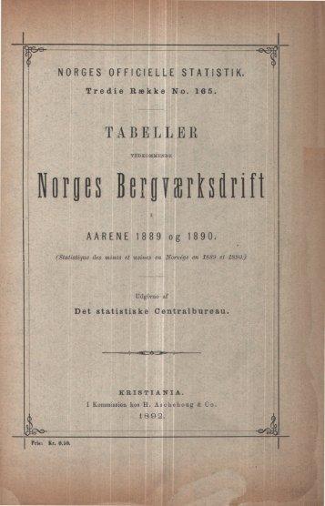 Tabeller vedkommende Norges Bergværksdrift i aarene 1889 og ...