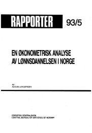 En økonometrisk analyse av lønnsdannelsen i Norge - SSB