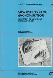 Vitenskapsfilosofi og økonomisk teori - SSB