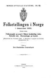 Folketellingen i Norge 1 desember 1930. Første hefte ... - SSB