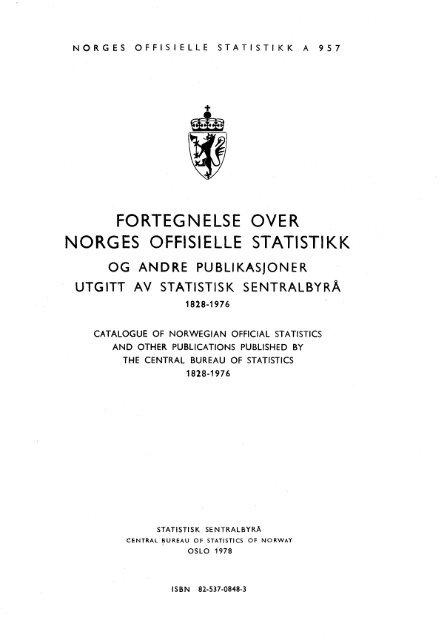 Fortegnelse over Norges offisielle statistikk og andre ... - SSB
