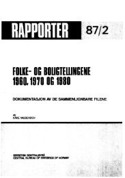 Folke- og boligtellingene 1960, 1970 og 1980 ... - SSB