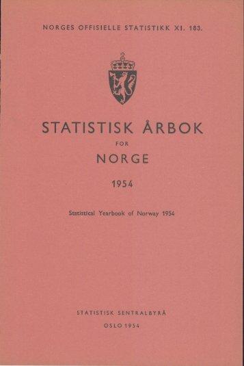 Statistisk Årbok for Norge 1954 - Statistisk sentralbyrå