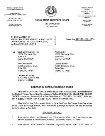 ENF-04-CDO-1554 - Texas State Securities Board