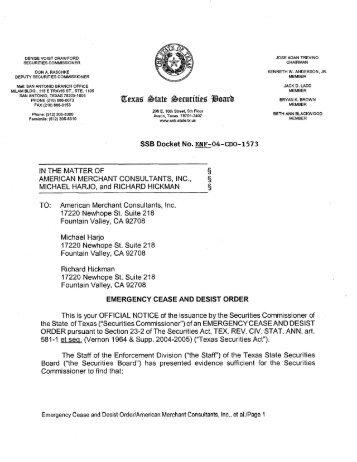 ENF-04-CDO-1573 - Texas State Securities Board