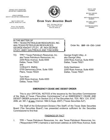 Order No. ENF-08-CDO-1648 - Texas State Securities Board