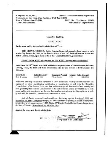 indictment - Texas State Securities Board